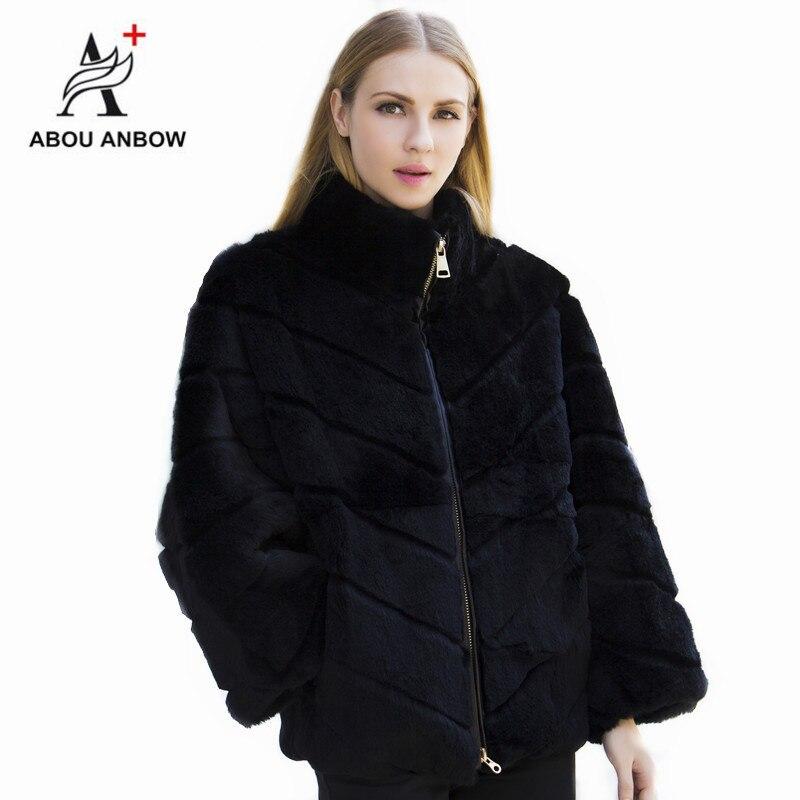 Date Batwing manches réel fourrure manteau 2019 femmes noir de haute qualité naturel lapin fourrure doux survêtement femme hiver manteau grande taille