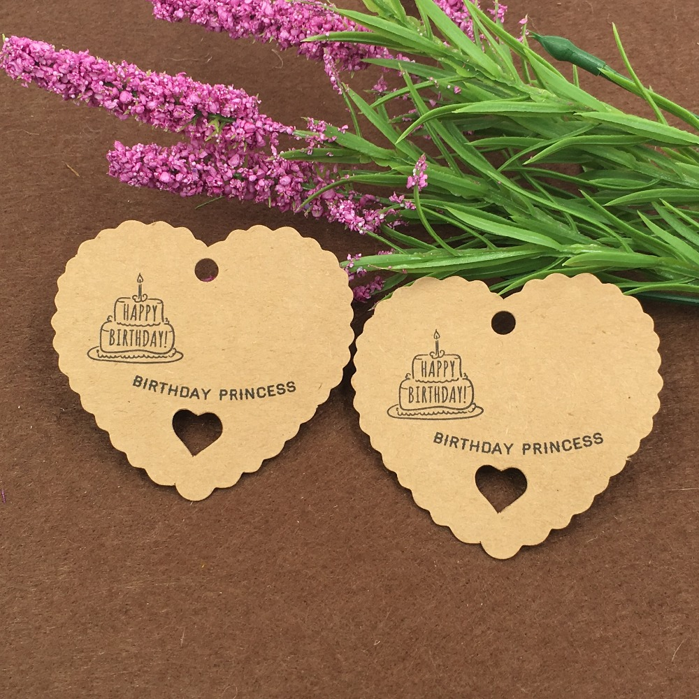 2017 New 200pcs/lot 6.5x6cm Brown Heart Design Kraft Paper Tags Luggage Price Favor Place Cards Escort Cards Table Tags