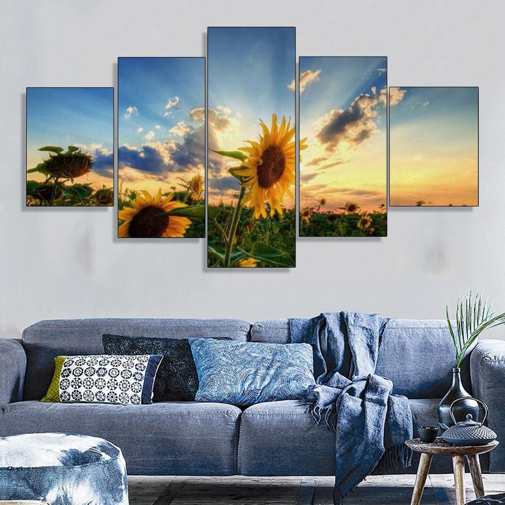 Super Sale #e044 - 5 Pcs Canvas Paintings Wall Art Sunflower ...