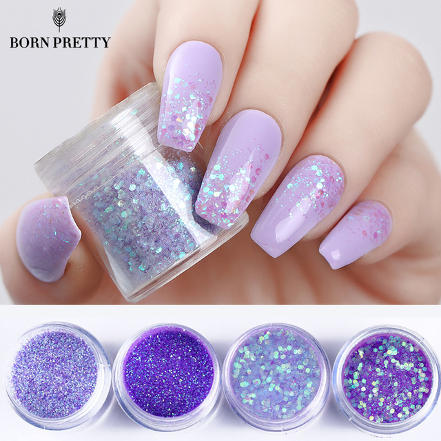 4 Bo Purple Nail Glitter Set Multi Size Violet Series Sequins Powder Manicure Art