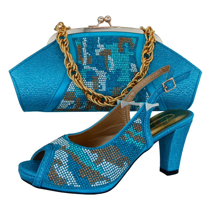 Фото SB8075 FREE SHIPPING TURQUOISE BLUE ITALIAN NEWEST DESIGNS SHOES AND BAG MATCHING SET FOR AFRICAN LACE FABRIC DRESS PARTY