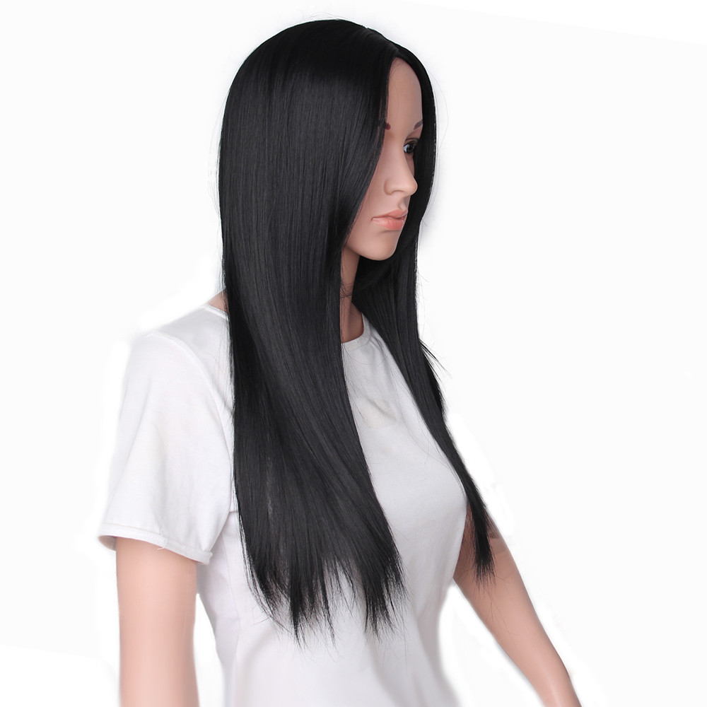 Fashion wigs front lace Long Straight Neat Middle Part Hair Similar to full lace wigs human hair 52223A