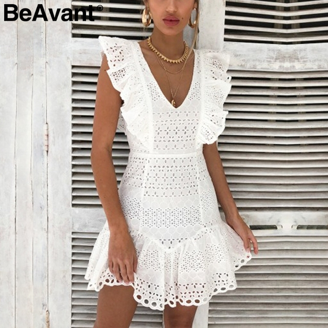 4b37b0cb61 BeAvant Elegant ruffle cotton white women dress Embroidery high waist  summer dress casual Vintage short party dresses ladies