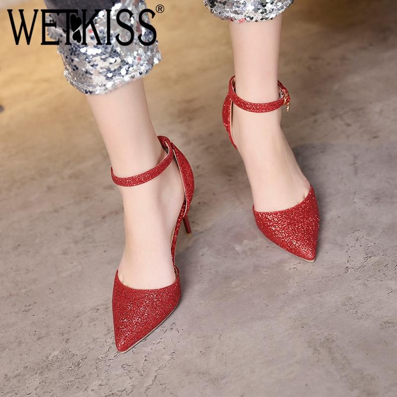 Verde Shoes Argento Kiss Sandalo caviglia Bling Heels donna Summer Size Bridle Nero 47 toe Sandali Wet Paillettes Plus Rosso Women alla rqw10xqUvR