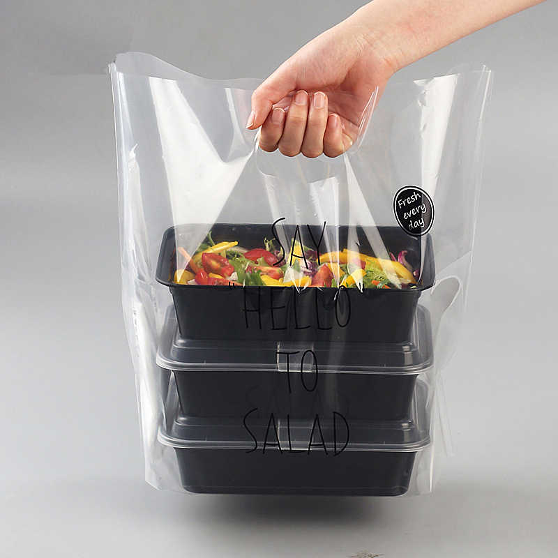 Disposable Plastic Take-out Package Bag Restaurant Shop Salad Packing Tools Nontoxic Transparent Bag Soft Doggy bag 50pcs/pack