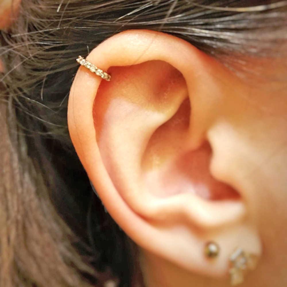1 adet yuvarlak zirkon bükülebilir mücevher yüzük bükülebilir dikişsiz burun halkası cerrahi çelik kristal kulak Trague kıkırdak küpe Piercing 1mm
