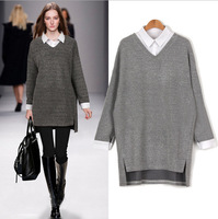 split large size sweaters women 6XL asymmetrical long sleeve 2017 autumn new shirt lapel fake two pieces sweaters