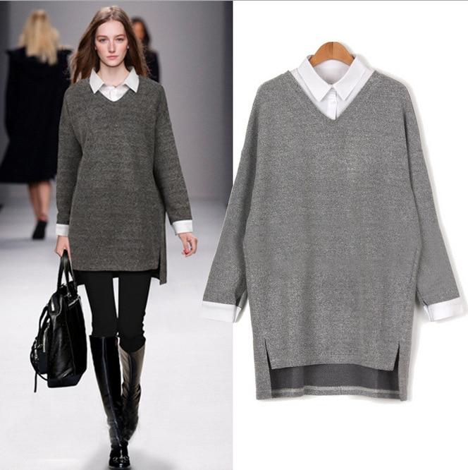 פיצול סוודרים בגודל גדול נשים 6XL שרוול ארוך א-סימטרי 2017 סתיו דש חולצה חדשה מזויף שני סוודרים