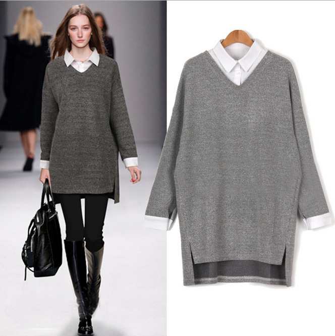 split large size sweaters women 6XL asymmetrical long sleeve 2017 - Women's Clothing - Photo 1