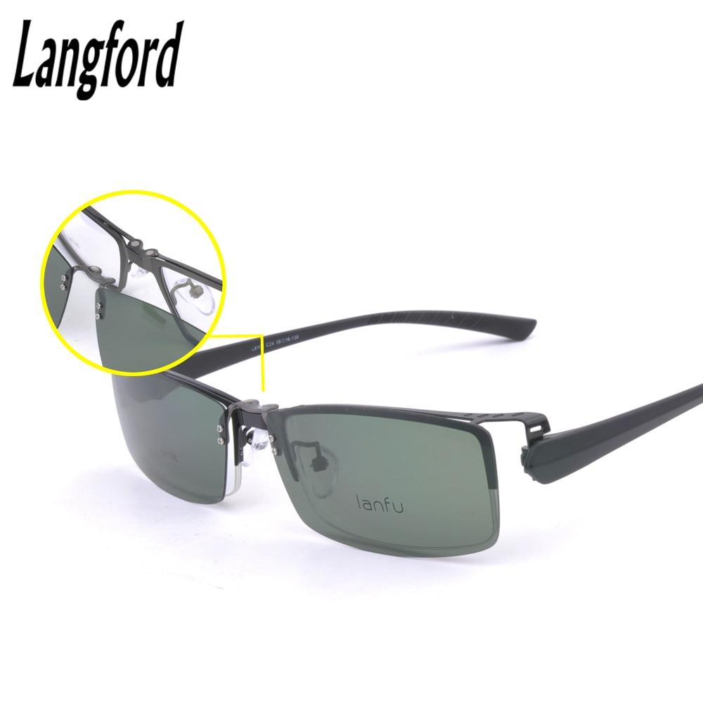 ᐂClip polarizado gafas hombre óptico gafas medio espectáculo marcos ...