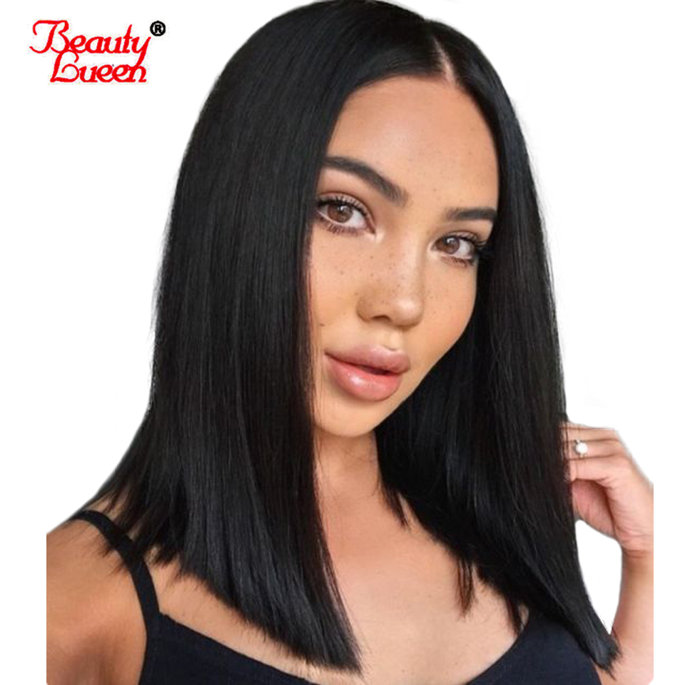 Human Hair Short Bob Wigs For Black Women 150% Density Brazilian Straight Remy Hair Lace Front Human Hair Wigs Bleached Knots