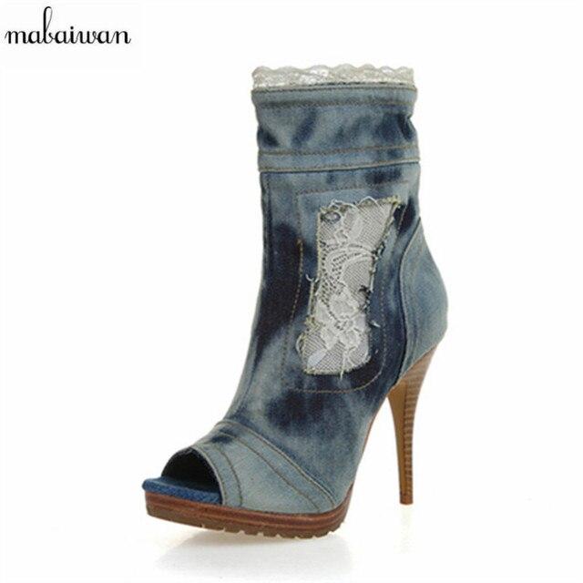 Mabaiwan New Fashion Women Thin High Heel Peep Toe Lace Side Zipper Summer Ankle Boots Casual Denim Sandals Women Platform Pumps