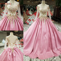 Purple Ball Gown Long Sleeve Lace Beaded Flowers Elegant Evening Dresses 2018 New Fashion Vestido De Festa QUEEN BRIDAL KC19