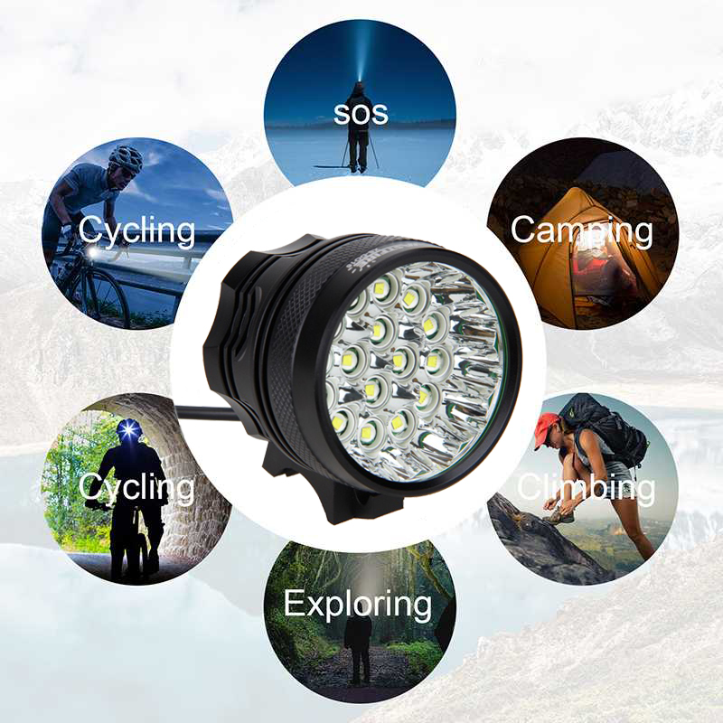 Купить с кэшбэком Waterproof Super Bright 20000 Lumens 16xT6 LED Bike Lights 3 Modes Front Bicycle Headlight+Rechargeable Battery Pack + Charger