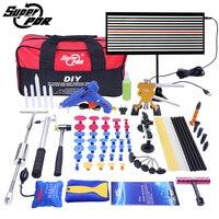 Супер PDR дент подъемник комплект клей съемников Paintless дент ремонт сумка для инструментов град удаление 68 шт.