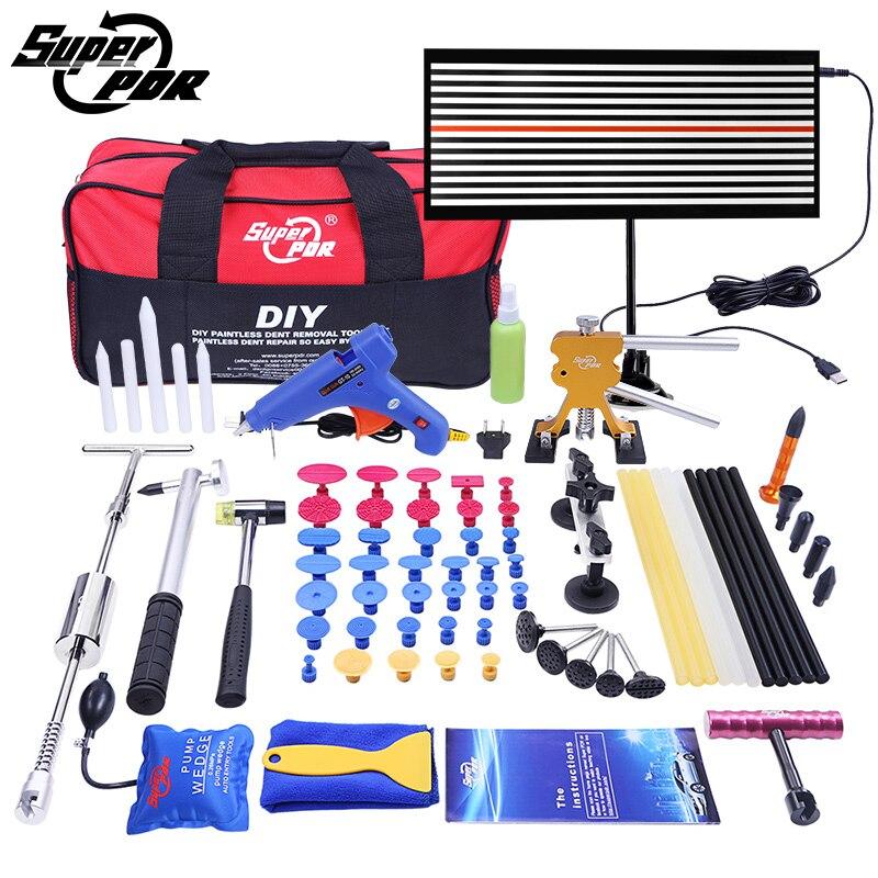 PDR Werkzeuge Ausbeulen ohne Reparatur-werkzeuge Dent Removal auto Kit LED reflektor Bord Dent Puller klebepistole pumpe keil Hand-werkzeug-set