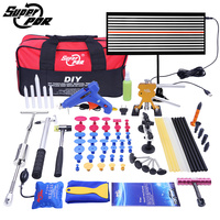 PDR Tools Paintless Dent Repair Tools Dent Removal car Kit LED Reflector Board Dent Puller Glue gun pump wedge Hand Tool Set