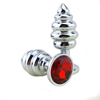 New  Metal Anal Plug 7 Colors Butt Plugs Toys Sex Toys for Women Stainless Steel+Crystal Jewelry Sex Products, Spiral Anal Beads