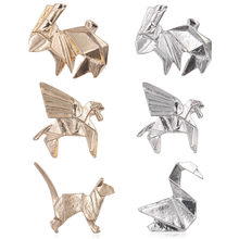 Metal Origami Cranes Bird Brooch Pegasus Rabbit Cat Unisex Animal Lapel Pin Blouse Collar Accessory Fashion Jewelry(China)