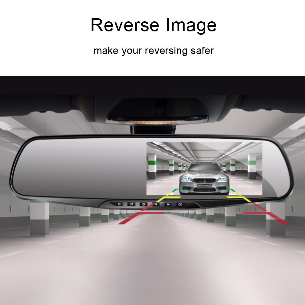 ADDKEY Автомобильный видеорегистратор Full HD 1080P 4,3 дюймов ips сенсорный экран рекордер двойной объектив с зеркалом заднего вида Авто регистратор тире камера dvr