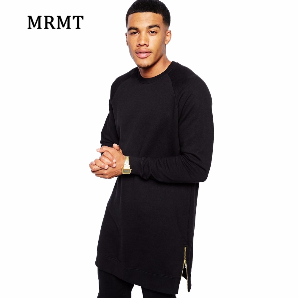 2017 Men's Black Color Long SLeeve T Shirt T-Shirt Zipper Shirt hip hop Streetwear Longline tshirts man Warm High street Tops