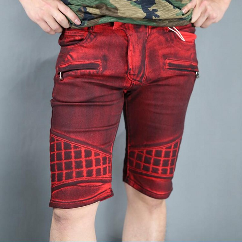 Hommes Summer Bull-puncher Knickers Retro Leisure Brand High Quality 100% Cotton Shorts Coating Zipper Pocket Short Red Jeans pepe jeans red bull racing f1 g15100839929
