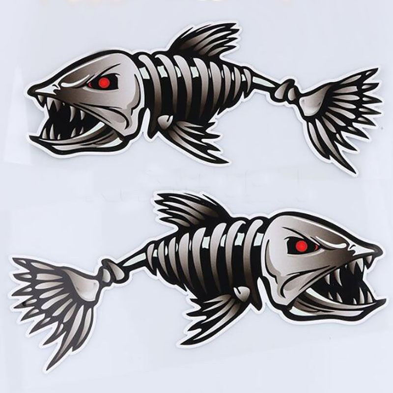 NEUSPEED 2PCS Shark Skeleton Car Sticker Reflective Fish Car Body Cover Scratches Decals Personality Waterproof Accessories arrow pattern car body reflective warming mark sticker golden red silver 10 pcs