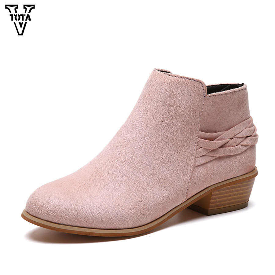 VTOTA Fashion Pointed Toe boots women Leopard Autumn Winter Ankle Boots  Side Zipper Shoes Woman Thick fe71abd9e32d