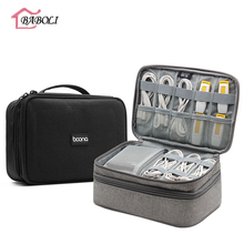 Big Double Layer Electronics Accessories Carry Case Travel O