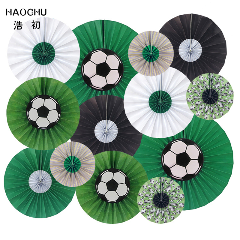 HAOCHU 13pcs/set 6 10 14 Mixed Size Green White Black Hanging Paper Fan For Kids Birthday School Team Soccer Party Decor