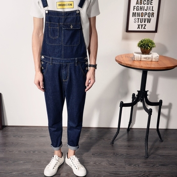 Jeans men 2020 Spring and Autumn Korean version of Denim Overalls Men's Japanese Overalls Jumpsuit Slim sling Denim trousers raw hem denim overalls