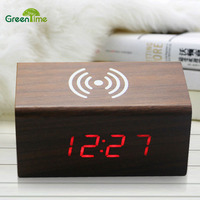 2018 Creative Wireless Charging Voice activated LED Wood Clock Electronic Mute Alarm Clock Wooden Desk Clock