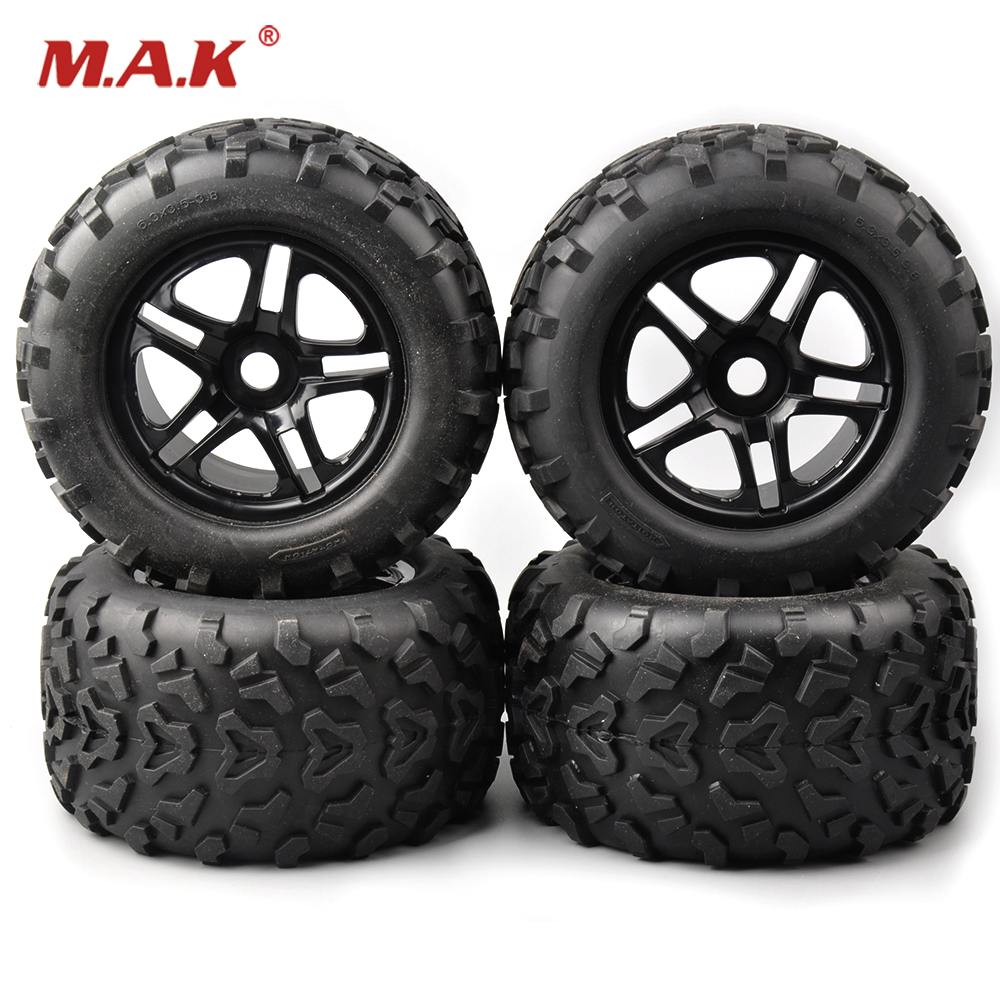 Truck Rubber Tires&Wheel Rims 4 PCS/Set 1/8 Tractor Trailer Climbing Car Rubber Tires for HSP HPI RC 1:8 Bigfoot Truck hatsune miku nendoroid black rock shooter klinge miku pvc action figure anim q version of the 3 educational toys
