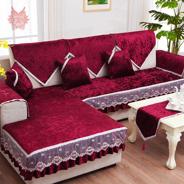 Luxury Wine Red Gold Fleece Velvet Sofa Cover Furniture