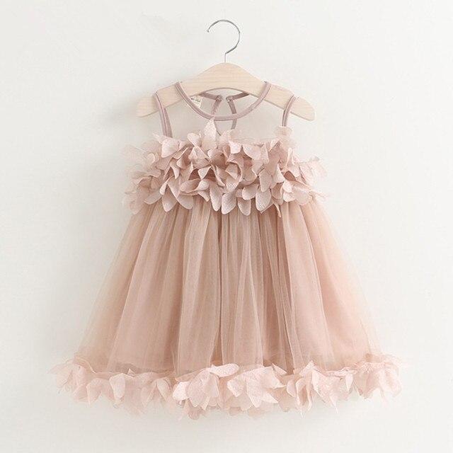 Girls Dress 2017 New Sweet Children Princess Dress Flower Petal Applique Baby Kids Wedding Party Dress for Girls 2 3 4 5 6 Years