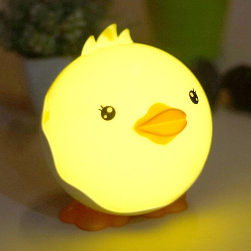 Laste öövalgusti Luminaria Beebituba Suur Näo Duck Cartoon Öine magamislamp Laste 4 värvi peo sisekujundus Uudsus Valgustus