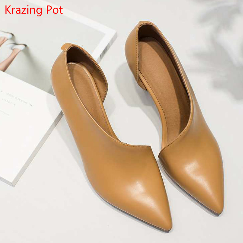 2017 New Fashion Brand Spring Shoes Thin High Heels Pointed Toe Women Pumps Solid Genuine Leather Wedding Party Office Lady Shoe 2017 new fashion brand spring shoes large size crystal pointed toe kid suede thick heel women pumps party sweet office lady shoe