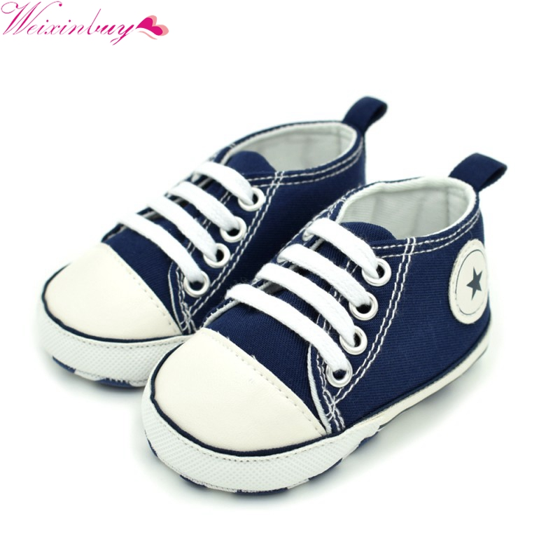 Cute Casual Baby 0-18M Boys Canvas Dress Crib Shoes Soft Sole Pre-Walker