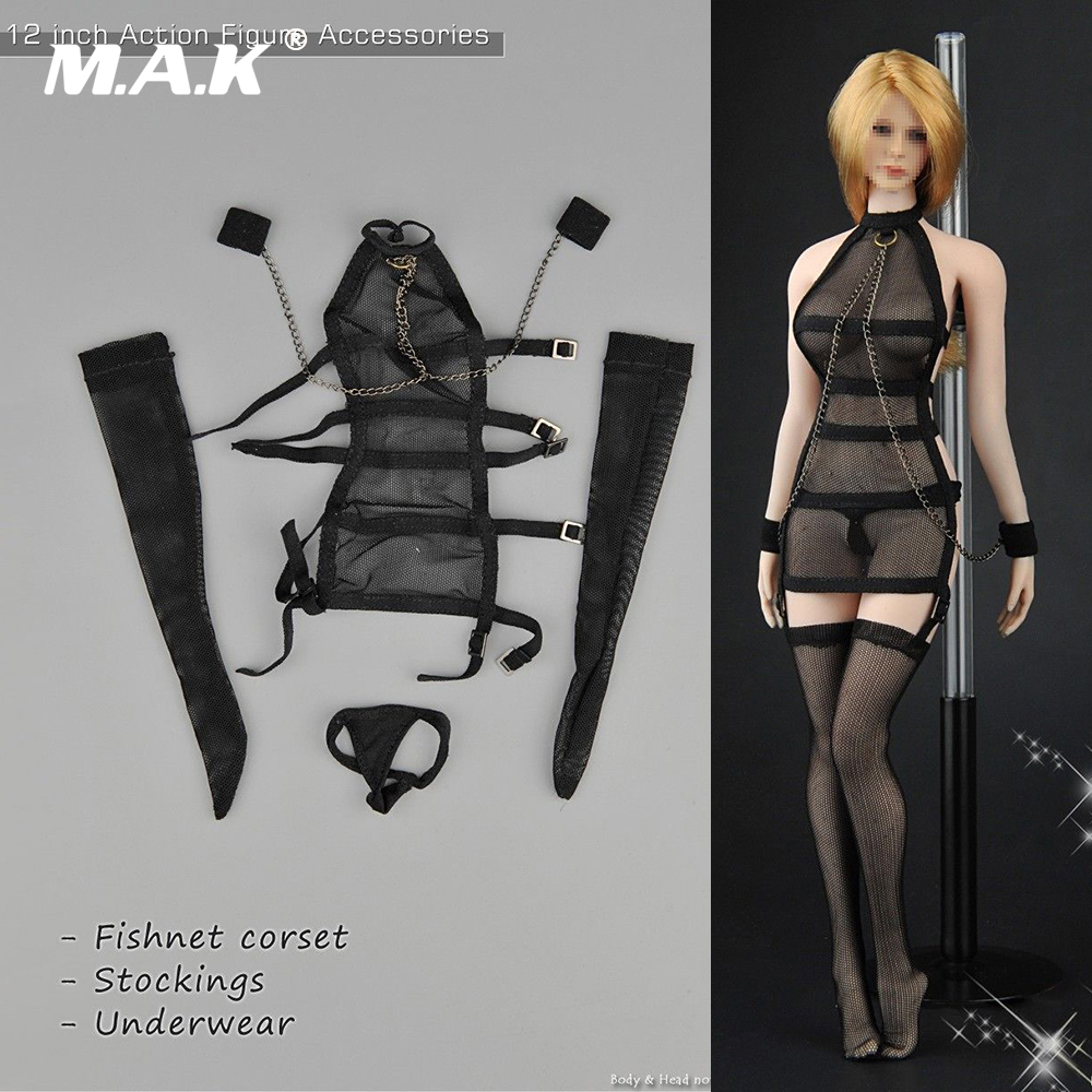 Gloves F 12/'/' Figure Body 1//6 Black Swimsuit Underwear Underclothing Stocking