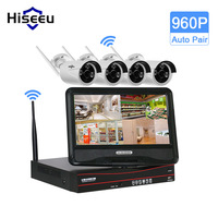 Hiseeu 10 Inch Displayer 4CH 720P 960P Wireless CCTV System Wireless NVR IP Camera IR CUT