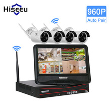 Hiseeu 4CH 960P 10 Inch Displayer Wireless CCTV System Wireless NVR IP Camera IR-CUT Bullet Home Security System CCTV Kit