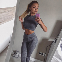 GXQIL 2019 Dry Fit Sports Fitness Suit Female Gray Sport Wear Women Tracksuit T shirt Leggings Outfit Breathable Workout Clothes