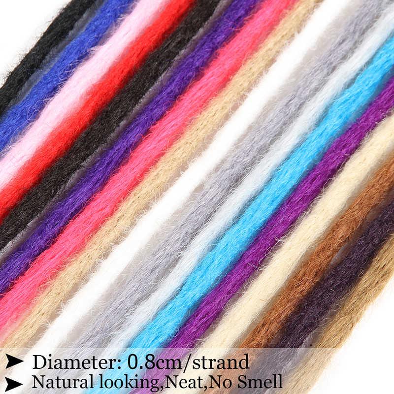 Extensiones de Dreadlocks trenzadas de ganchillo de SAMBRAID extensiones de cabello trenzado hechas a mano de Color puro raso sintético de pelo de Reggae de 20 pulgadas