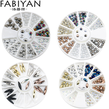Nail Art Wheel 3D Tips DIY Studs Round Oval Flatback Design Decoration Acrylic AB Rhinestones Crystal UV Gel Accessories Tools