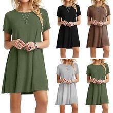 Womens Summer Plus Size Short Sleeves Midi Swing T-Shirt Dress