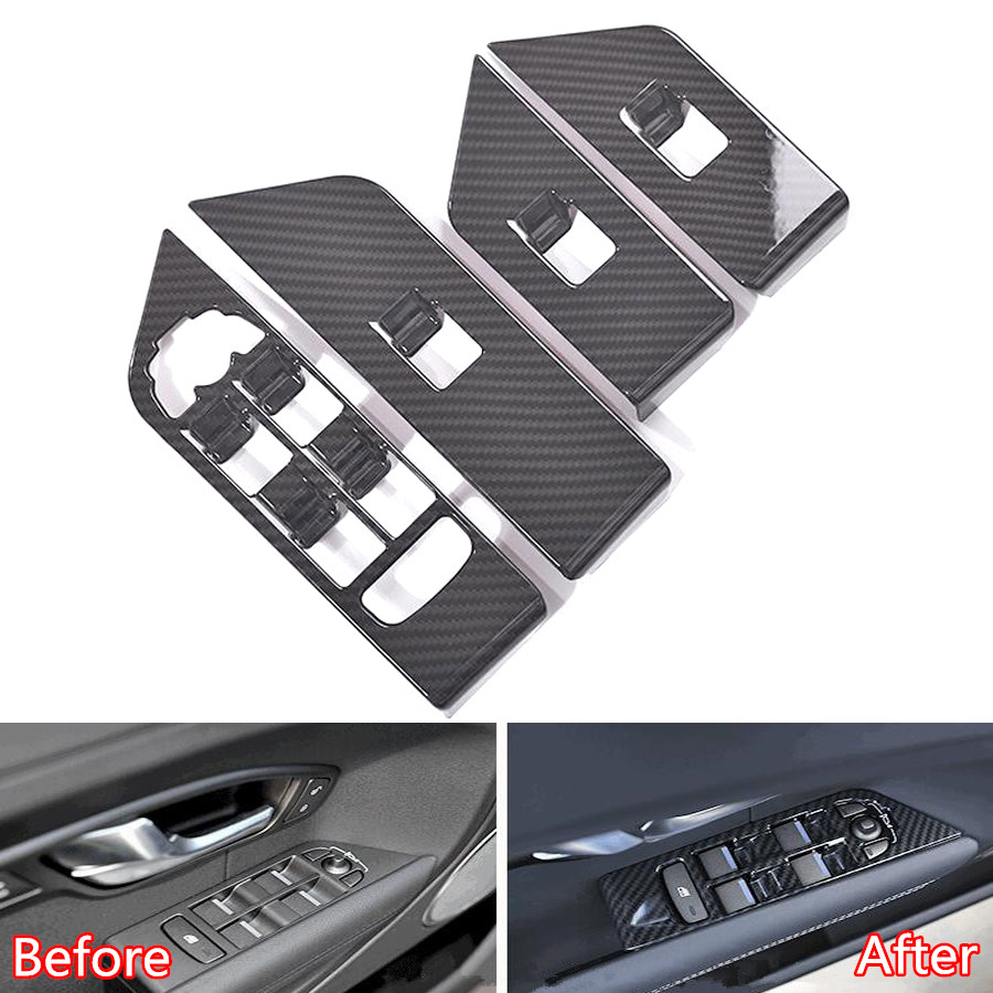 YAQUICKA Car Door Armrest Window Switch Button Frame Trim Sticker For Land Rover Range Rover Evoque 2012 2017 Carbon Fiber Black