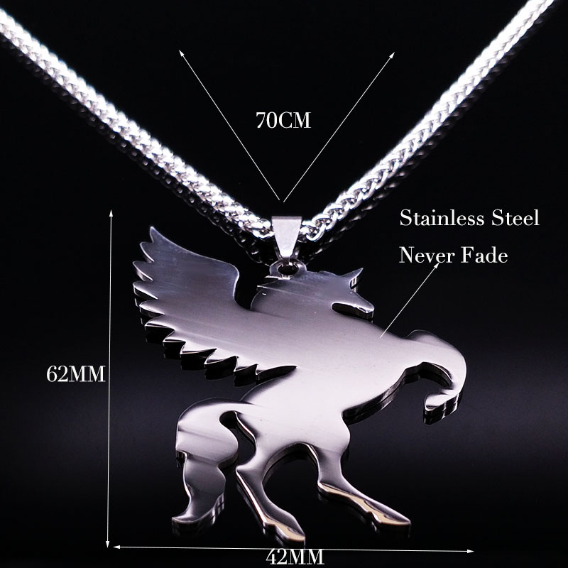 2019 Fashion Unicorn Stainless Steel Choker Necklace Jewerly Silver Color Long Necklaces Pendantss Jewelry gargantilla N17841 in Pendant Necklaces from Jewelry Accessories