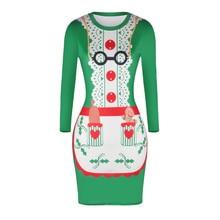 Khastanido осень Рождество tablier Дизайн 3D печати бинты Bodycon Платья для женщин с длинным рукавом o-образным вырезом Зеленый вязаный Обёрточная бумага платье Для женщин