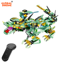 Global Drone RC Dragon Robot Toy for Children Christmas Present Remote Control Block Dragon Robot for Kids Toys for Boys