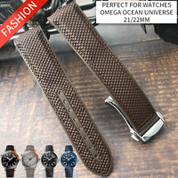 21mm 22mm Surface Plastic Bottom Silicone Watch Strap Folding Buckle Watchband Special for Omega Seamaster Ocean Universe Watch